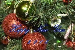 Happy New Year 2018. Holidays decoration  as colored background Stock Photos