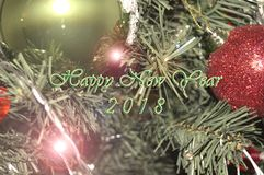 Happy New Year 2018. Holidays decoration  as colored background Stock Image