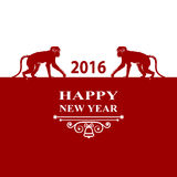 Happy New Year holidays 2016 Decorations Card. Silhouette monkey on red white background. Greeting card, invitation, brochure, fly. Vector illustration of Happy Royalty Free Stock Photography
