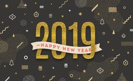 Happy New Year 2019 - holidays illustration. New Year greeting with glitter gold date on a abstract background. Happy New Year 2019 - holidays vector vector illustration
