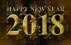 Happy New Year 2018 with Holly Royalty Free Stock Photography