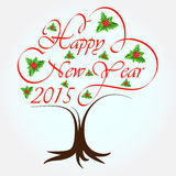 Happy New Year 2015. Holly tree background stock illustration