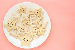 Happy new year homemade cookies Royalty Free Stock Photos
