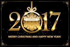Happy new year 2017. Horizontal greeting banner with golden three-dimensional lettering 2017 and sparkling shine on dark pink background. Christmas and New Year Stock Images