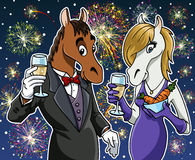 Happy new year - Horse. Cartoon illustration: Two horses (male and female) toasting and celebrating the new year. Fireworks on the starry sky Royalty Free Stock Image