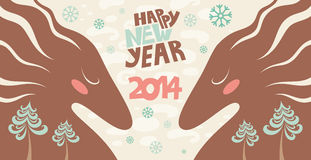 Happy new year of the horse. Cute greeting card. Happy new year of the horse. Vector illustration Vector Illustration