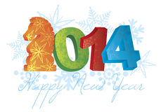 2014 Happy New Year of the Horse with Snowflakes Royalty Free Stock Images