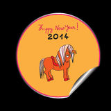 Happy new year horse sticker. Hand drawn illustration of a toy horse cartoon, Happy New Year 2014 orange sticker isolated on black Royalty Free Stock Image