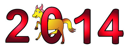 Happy new year 2014. New Year 2014 - Year of the Horse - Vector Illustration royalty free illustration