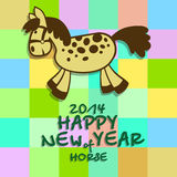 Happy New year of a horse 2014. New Years card with a cheerful horse, letters, figures on a multi-coloured background in a section Royalty Free Stock Images