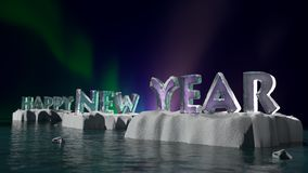 Happy New Year on Ice Stock Photography