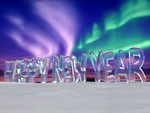 Happy New Year on Ice Royalty Free Stock Photography