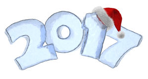 2017 Happy New Year ice text with fluffy red hat. Happy New Year creative holiday concept - 2017 new year sign text written with numbers made of clear blue ice Royalty Free Stock Photos