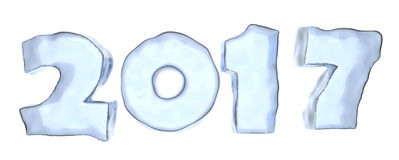 Happy New Year 2017 ice text isolated. Happy New Year 2017 sign text written with numbers made of clear blue ice isolated on white background, Happy New Year Royalty Free Stock Photo
