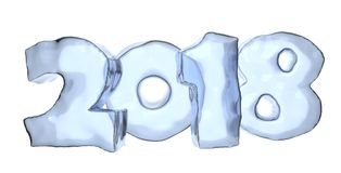 2018 Happy New Year ice text. 2018 Happy New Year sign text written with numbers made of ice, Happy New Year 2018 winter icy symbol 3d illustration isolated on Royalty Free Stock Images