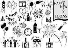 Happy New Year Icon Collection. Black and White Design Elements for Your Project, Vector Royalty Free Stock Photography