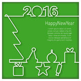 Happy New Year 2016 Icon. Compact design for cards, icons, stickers with Happy New Year 2016 end present box Stock Image