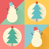 Happy New Year icon set of flat design: christmas tree and snowm Royalty Free Stock Images