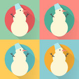 Happy New Year icon set of flat design: snowman pattern Stock Images