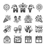 Happy new year icon set. Vector and illustration stock illustration