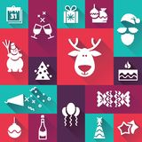 Happy New Year icons. With long shadow on colour background Royalty Free Stock Images