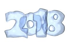 2018 Happy New Year icy text. 2018 New Year sign text written with numbers made of ice, Happy New Year 2018 winter icy symbol 3d illustration isolated on white Stock Photo