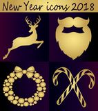 Collection of golden New Year icons. Happy New Year 2018 - idea for a postcard, poster. Golden deer, Santa`s beard and Christmas decorations Stock Photo