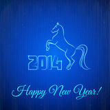 Happy New Year 2014. Illuminated Neon Horse. Vector Illustration Stock Images