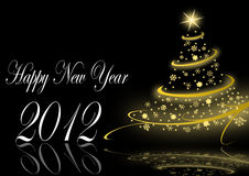 Happy new year illustration. With christmas tree Stock Images
