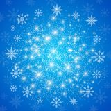 Happy New Year illustration. Blue background with white snowflakes.  royalty free illustration
