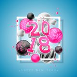 Happy New Year 2018 Illustration with Bright 3d Number and Ornamental Ball on Blue Background. Vector Holiday Design for Stock Photos