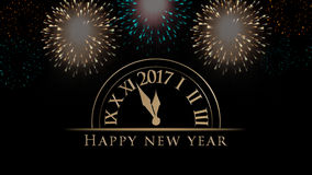 2017 Happy New Year illustration, card with clock, fireworks, text on black background. 2017 New Year`s eve illustration, card with clock, colorful fireworks and Royalty Free Stock Image