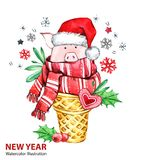 2019 Happy New Year illustration. Christmas. Cute pig with Santa hat in waffle cone. Greeting watercolor dessert. Symbol stock photography