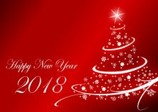 Happy new year 2018 illustration with Christmas Tree on red background. Happy new years 2018 illustration with Christmas Tree on red background vector illustration