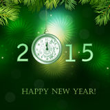 Happy New Year illustration with clock Stock Photography