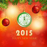 Happy New Year illustration with clock Royalty Free Stock Photo