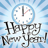 Happy New Year!. Illustration of a clock past midnight, and custom designed lettering Stock Images