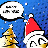 Happy New Year illustration with cock in a Santa hat, golden tree and text cloud. Comics style. Vector Stock Photo