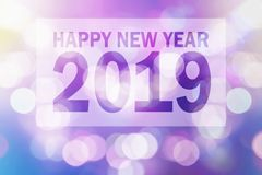 Happy New Year 2019 illustration with Colorful blur Bokeh. royalty free stock image