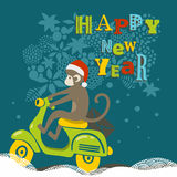 Happy New Year illustration with cute monkey on. The scooter. Vector creative design stock illustration
