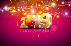 2019 Happy New Year illustration with 3d gold number, disco ball and lights garland on violet background. Holiday design. For flyer, greeting card, banner vector illustration