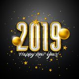 2019 Happy New Year illustration with 3d typography lettering, and Christmas ball on black background. Holiday design royalty free illustration