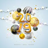 2019 Happy New Year illustration with 3d typography lettering and Christmas ball on light background. Holiday design for. Flyer, greeting card, banner stock illustration