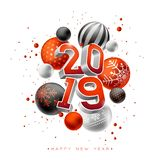 2019 Happy New Year illustration with 3d typography lettering and Christmas ball on white background. Holiday design for. Flyer, greeting card, banner vector illustration