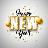 2019 Happy New Year illustration with 3d typography lettering, and Christmas ball on white background. Holiday design. With shiny bright lights for flyer stock illustration