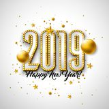 2019 Happy New Year illustration with 3d typography lettering, and Christmas ball on white background. Holiday design. With shiny bright lights for flyer royalty free illustration