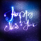 Happy New Year illustration. Dark blue background with beautiful lettering Stock Photos