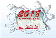 Happy New Year 2018 .Illustration of Dubai Landmarks ,paper art Stock Images