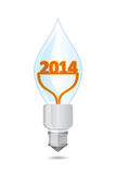 2014 - Happy New Year. Illustration with electric bulb Stock Photos