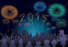 Happy New Year 2015. Illustration of a fire work on New Year celebration night. Happy New Year illustration for 2015 vector illustration